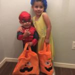 Spiderman and Joy and their Treat Bags